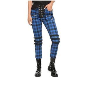 ROYAL BONES DAANG GOODMAN Pants Size 1 Blue Black Plaid Emo Goth Punk